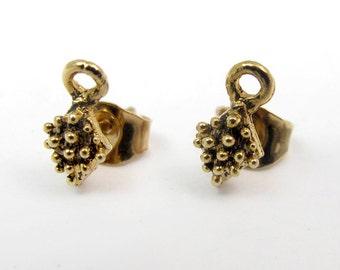 Vintage Antiqued Gold Plated Pewter Bali Earrings Stud Findings (6 pairs) (F599)