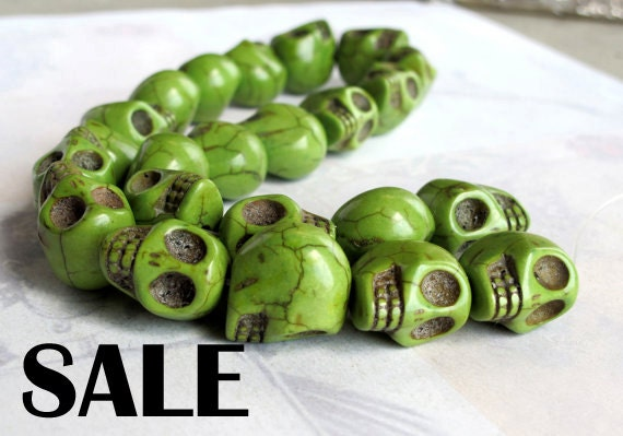 L A S T Set - Large Died Apple Green Howlite Skull Beads -  (8X) (NS528) -  SALE - 66% off