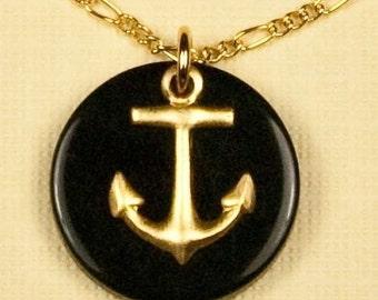 Vintage Black Nautical Anchor Necklace