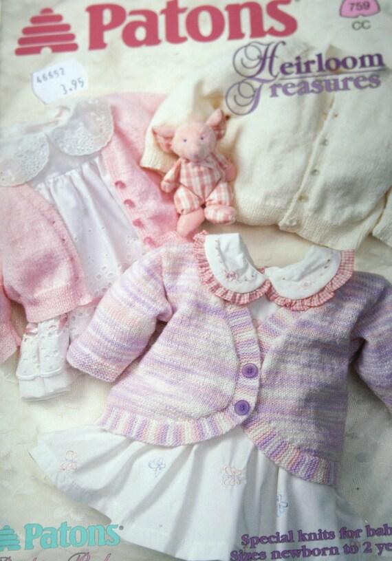 Knitting Patterns Baby Heirloom Treasures Beehive Patons 759
