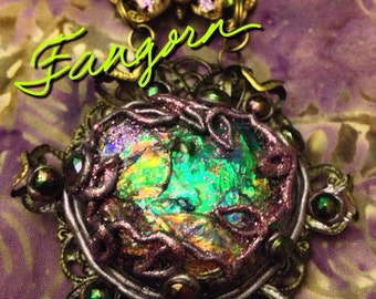 Tolkien/Fangorn Emerald Forest Faerie Portal/Necklace/ Pendulum/Amulet/Scrying Mirror/Spell Bound Gems(tm)/Custom Engraving/Collectible Art/