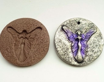 36mm Faerie cabochon or pendant mold - Polymer Clay