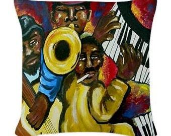 Fun Funky Jazz African American Musicians Folk Art Pillow - Woven Throw Pillow Whimsical Art by Renie Britenbucher