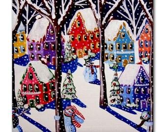 Magical Snowmen 3 Winter Fun Whimsical Folk Art Ceramic Tile