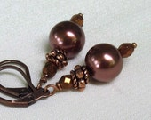 Chocolate Pearl Drop Earrings, Antique Copper and Bronze Crystals - Leverbacks or Classic Hooks - Chocolate Drops