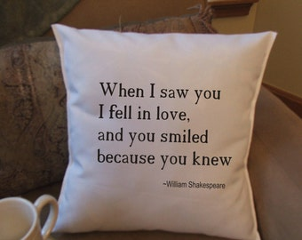 William Shakespeare quote  throw pillow cover, decorative pillow cover