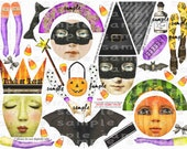 ART TEA LIFE Doll Kit Artful Gathering Workshop Halloween Scrapbook Journal Paper Doll Collage Sheet Set of 2