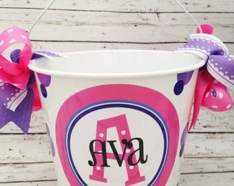Pink and Purple 5 Quart Stacked Name Bucket