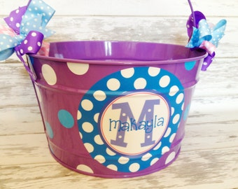 custom personalized 16 QUART bucket for Easter featuring purple and blue