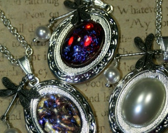 Romantic Silver Locket Necklace Choice Fire Opal, Pearl, Dragons Breath Vintage Style Heirloom