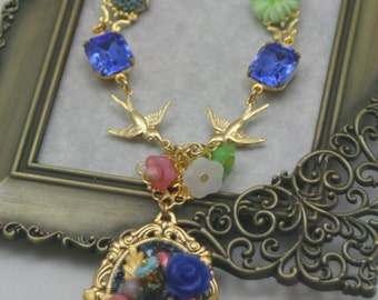 Enchantment Vintage Swallow Rhinestone and Flower Necklace Golden Age