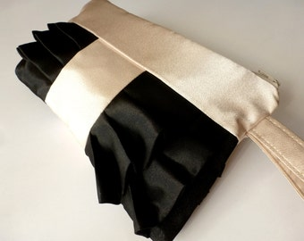 Beige and Black Satin Ruffled Wristlet