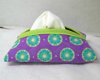 Quilted Tissue Holder Pocket Size Flowers Purple Turquoise