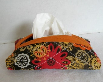 Fall Quilted Pocket Tissue Holder Brown Orange Floral Tissue Cozy