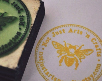 Round Custom Rubber Stamp bumble bee theme