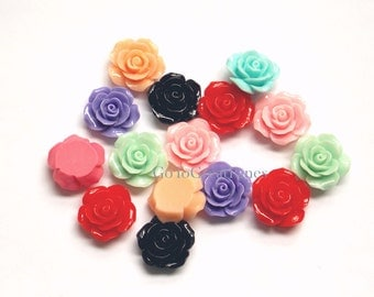 12 Cabs 23mm Resin Roses, Random Flatback Delicate Roses, Flowers Cabochons, mixed colors, vintage style jewelry supplies, 23 mm, pink, blue