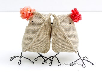 Burlap Birds Same Sex Wedding Cake Topper Love Birds Raspberry Peach Rustic Woodland Barn Orchard Garden Beach Wedding
