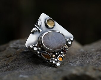 Connected – Reflection – dendritic agate, citrine, tigereye, gold and sterling silver ring