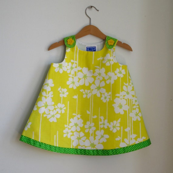 Yellow & Green Flower Spring Toddler Dress - size 18 -24 Months - Girls Spring Dress from vintage fabric