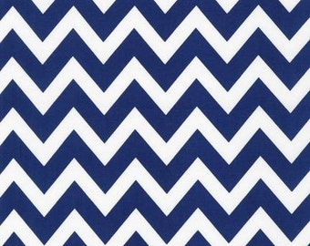 Ann Kelle Remix Medium Chevron Zig Zag Navy Fabric - REMNANT Size 31 Inches by 44 inches