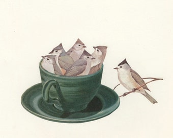 Titmouse tea.  Limited edition collage  print by Vivienne Strauss.