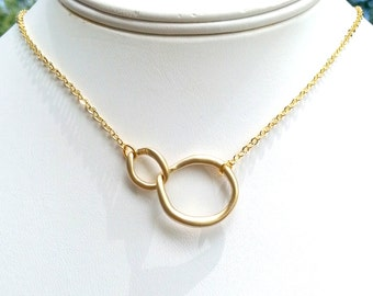 Gold Eternity Necklace, Wedding, Engagement, Bridesmaid Gift, Maid of honor gift, Mother gift, Summer Jewelry