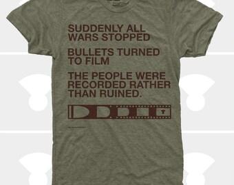 Men TShirt Film v. Bullet, Men Shirt, Typography TShirt, Photography, Inspirational Quote, War, S,M,L,Xl,Xxl, Green (4 Color) TShirt for Men