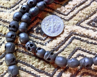 108 bead BLACK wood skull bead mala 7x8mm