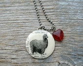 SALE - Alpaca Love - Altered Vintage Glass Watch Crystal Pendant Necklace - Recycled Upcycled - Ready To Ship
