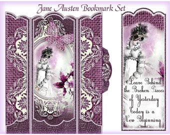 Jane Austen Inspirational Bookmark Set with Holder Cottage Shabby Chic Victorian INSTANT DOWNLOAD Digital Printable