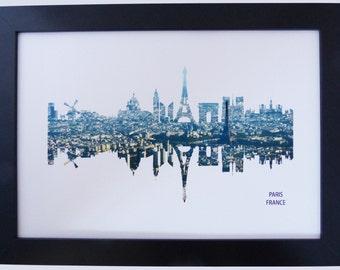 Paris, France Skyline Print with aerial city photo
