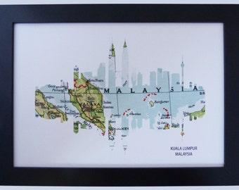 Kuala Lumpur, Malaysia Skyline print with vintage city map