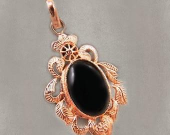 Sale: Black Onyx and Copper Pendant