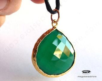Green Onyx 30mm (stone 21mmx 20mm) Pear Shape Pendant Gold Bezel F417- 1 pc