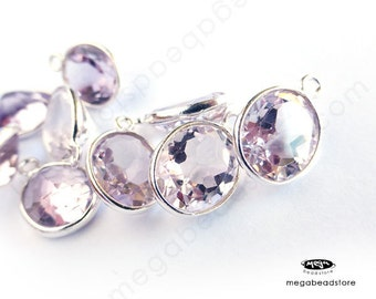 4 pcs 9mm x 7mm Light Purple Pink Amethyst (Natural Quartz) Oval Drops Sterling Silver Bezel F434S