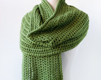 GREEN Pure Merino Wool Hand Knit Wrap, Shawl, Scarf, Chunky Lace, Warm, Soft, Comfortable, Long, Cozy, Winter, Colorful