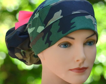 Scrub Hats for Women - Ponytail Womens Surgical Scrub Cap - CAMOUFLAGE