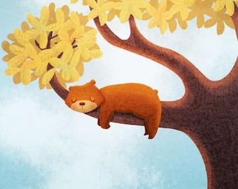 "Bear Art Print, Bear Art, Kids Art, Kids room - ""Sleepy Bear"""