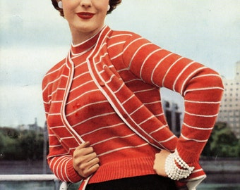 1950s Vintage Twin Set Cardigan and Jumper pdf Knitting  Pattern INSTANT DOWNLOAD