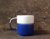 Handmade Danish Mug in Cobalt and White Color Block