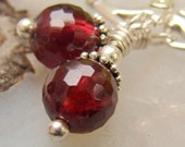Garnet Earrings, Drop Earrings on Sterling Silver Leverbacks - Berry Wine