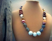Chunky gemstone necklace, Faceted agate Mixed semiprecious stone Mookaite Raw citrine Copper - Gypsy