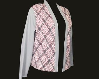Vintage Women's Cardigan, Sweater, Jacket, Argyle, Gray, Pink, 1970's, Polyester, Medium/Large