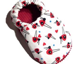 White Ladybug Soft Soled Baby Shoes 6-12 mo