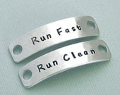 Hand Stamped Dog Agility Shoe Plates - Aluminum Shoe Tags - Canine Agility Gift - MACH Gift - Dog Agility Accessory - Run Fast Run Clean