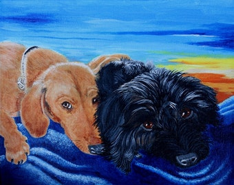 Two Pets Portrait dog cat truck bird 8 x 10 acrylic on stretched canvas