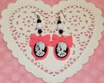 Pink Skeleton Cameo Earrings