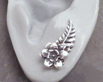 Sterling EAR PINS - PETALS Silver Flower & Leaf Ear Sweeps Earrings