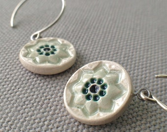 starflower earrings, sage and peacock ... handmade porcelain jewelry by Sofia Masri
