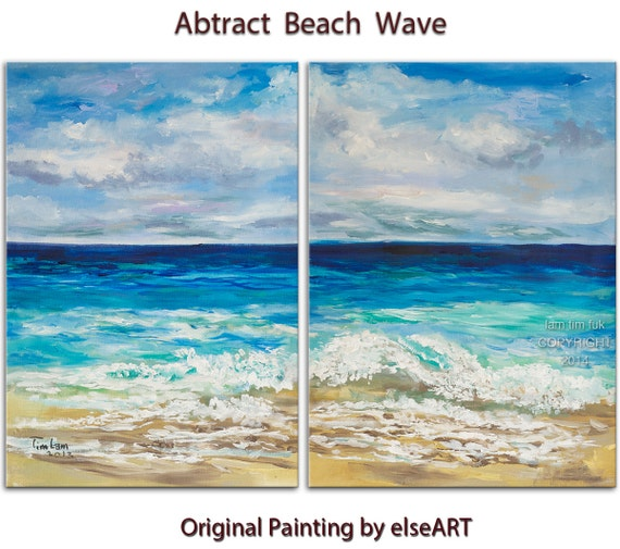 Beach art abstract painting cobalt Blue sky turquoise Sea white wave Landscape Painting by Tim Lam 63x30